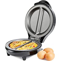 Andrew James Dual Omelette Maker Electric 700W - Easy Cleaning Non Stick Plates Easily Makes Omelettes Fried and Scrambled Eggs - Features Non Slip Feet and Cool Touch Handle