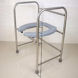 CPDZ Faltbarer Toilettenhocker Sitz mit Kommode älterer Toilettenstuhl Tragbarer closesool Nachttisch Kommode für Senioren Behinderter Toilettenstuhl Medizinischer Toilettenstuhl Silver Grey