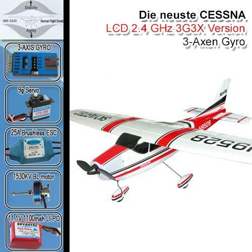 OCS.tec Cessna 182 skylane 3G3X R/C Avión Aviador (brushless, LiPo, Rojo) *Ready-to-Fly* FZ2-FBA