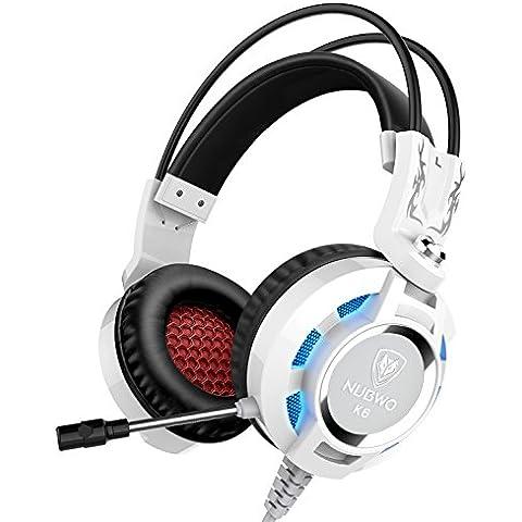 Auriculares, Nubwo K6 sobre el oído estéreo del juego de auriculares con micrófono, Audiófilo Nivel auriculares estéreo con USB 2.0 (potencia de las luces LED sólo) 2 X 3,5 mm Conectores de cable 2 metros Mejor realzó (Negro/Blanco)