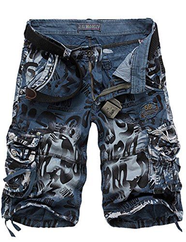 Menschwear Herren Vintage Cargo Shorts Bermuda Kurze Hose Sommer Kurze Hose Multi Blau