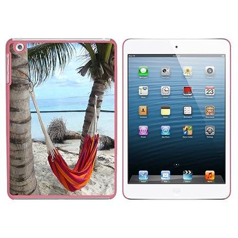 Tropical Beach Hamac–Palm Trees Océan rigide à clipser Coque de protection pour Apple iPad Mini 1E génération–Rose