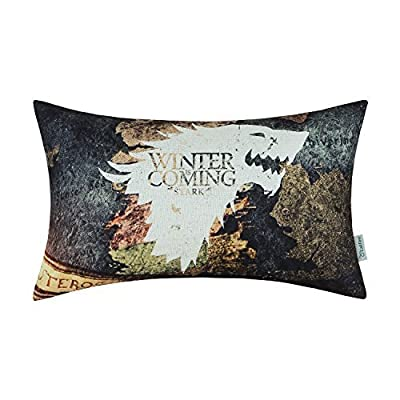 CaliTime Cushion Covers Bolster Pillow Case Shells for Bed Sofa Couch 30cm X 50cm, A Game of Thrones, Houses Stark Winter Is Coming