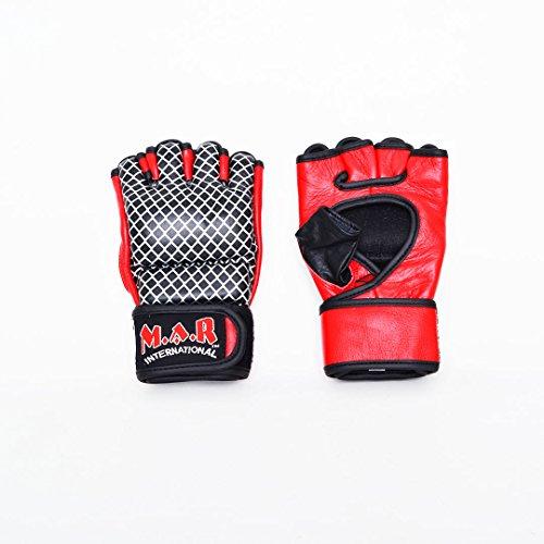 M.A.R International Ltd echtes Leder Open Finger Open Palm MMA ULTIMATE FIGHTING Handschuhe Muay Thai Power Data Grapple & Strike Handschuhe Wettbewerb Handschuhe Gym Fitness Supplies Sparring Gear Medium schwarz / rot