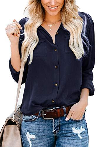 Yidarton Damen Bluse Elegant Hemdbluse V-Ausschnitt Button Down Shirts Lose Casual Langarm Tunika Tops mit Brusttaschen (M, Marine)