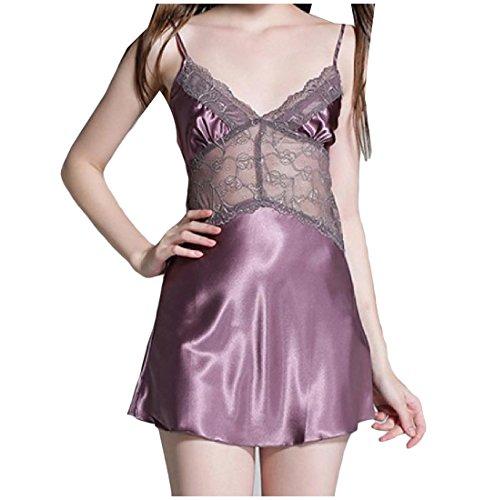 ANDYOU-Women Damen v-ausschnitt, pajama pure color lace charmeuse schlafen kleid M Lila -