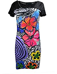 Le donne abito a manica corta con stampa floreale e stampa muticolored rinestone