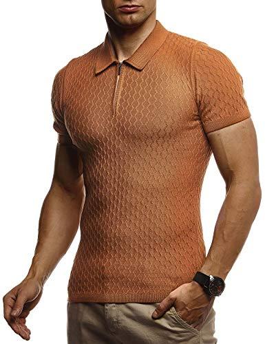 Kurzarm Vintage Poloshirt (LEIF NELSON Herren Sommer T-Shirt Poloshirt Slim Fit aus Feinstrick | Cooles Basic Männer Polo-Shirt Crew Neck | Jungen Kurzarmshirt Polo Shirt Sweater Kurzarm | LN7315 Camel Large)