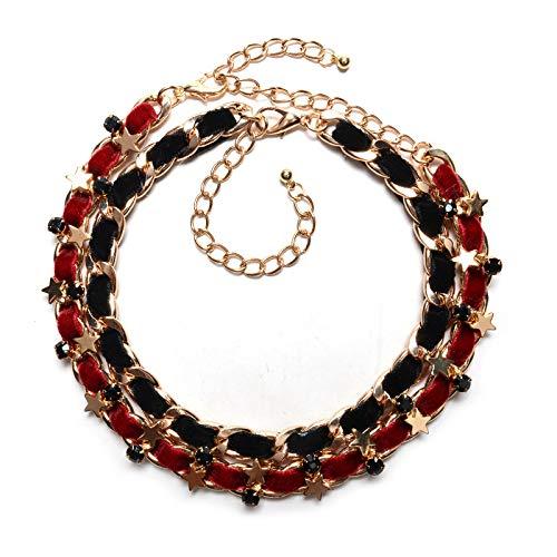 lber Damen Kette mit Anhänger mit,Europäische und amerikanische Halskette Einfache Persönlichkeit Weaving Ribbon Halskette Schmuck ()