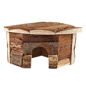 Emours Hamster legno casa in legno naturale mastica piccolo animale nascondiglio, piccolo