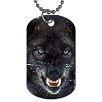 Yanteng Wolf ferocious Dog Tag with chain necklace Great Gift Idea