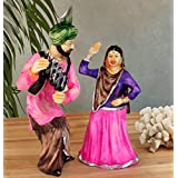 Tied Ribbons Punjabi Couple Bhangra Dancing Resin Showpiece (13 cm x 11.99 cm x 26.01 cm)