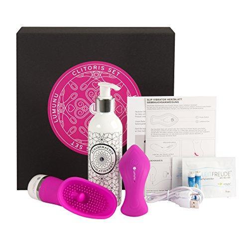 Deluxe Klitoris Sex-Spielzeug Set für Frauen (3tlg.), 2 Vibratoren für die Klitoris & Klitoris Stimulations-Gel extra stark (200ml), Erotik Geschenk-Box für SIE