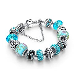 Idea Regalo - Bracciale donna e ragazza con bead, vetro di murano e zirconi - componibile - massima brillantezza, alta qualità (Cross Light Blue)