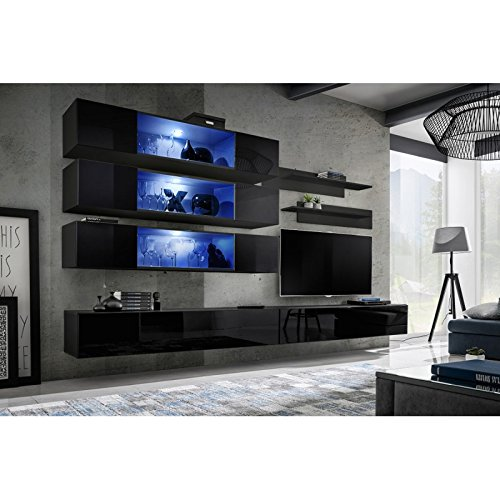Paris Prix - Meuble TV Mural Design Fly XI 320cm Noir