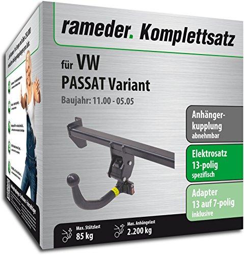 RAMEDER Komplettsatz, Anhängerkupplung abnehmbar + 13pol Elektrik für VW PASSAT Variant (135864-04737-1)