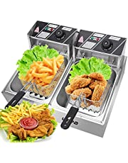 Prakal 5000w Electric Countertop Deep Fryer Dual Tank Commercial Restaurant Stainless Steel 12L Capacity Double Electric Fryer with Basket and Temperature Control