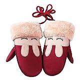 Eastever Enfants Garçons Filles Hiver Twist Gants / Cute épaissir Gants Coupe-vent Chaud Plein Doigt - Rouge