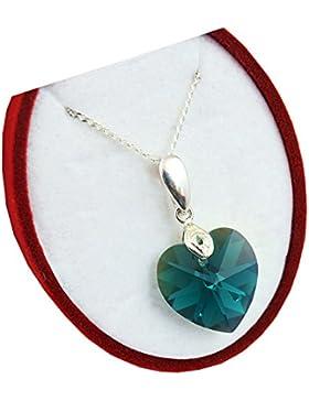 Crystals&Stones **Herz** 18 mm *Emerald AB* mit Silberkette aus 925 Silber mit original Swarovski® Elements Anhänger...