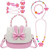 Little Girls Handbag with Kids Jewelry Set Cute Shoulder Bag Girls Small Purse for Kids Toddlers Gift Present Birthday Christmas Party Pretend Play with Necklace Bracelet Hair Hand Clips Set