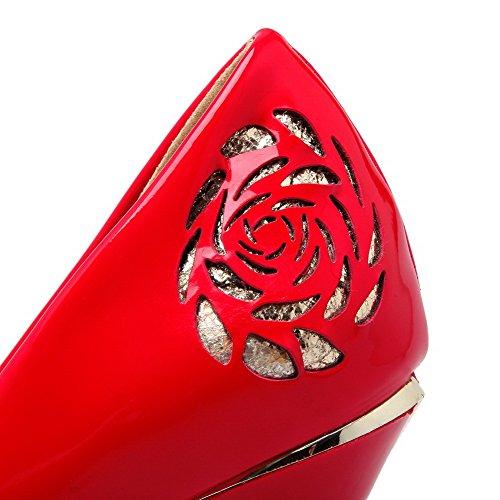 AgooLar Femme Stylet Verni Couleur Unie Tire Rond Chaussures Légeres Rouge