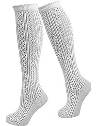 1, 2 oder 4 Paar Damen Dirndl Trachtensocken Häkellook Kniestrümpfe für Teenager und Damen