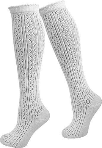 1, 2 oder 4 Paar Damen Dirndl Trachtensocken Häkellook Kniestrümpfe für Teenager und Damen Farbe 1 Paar Größe 35/38