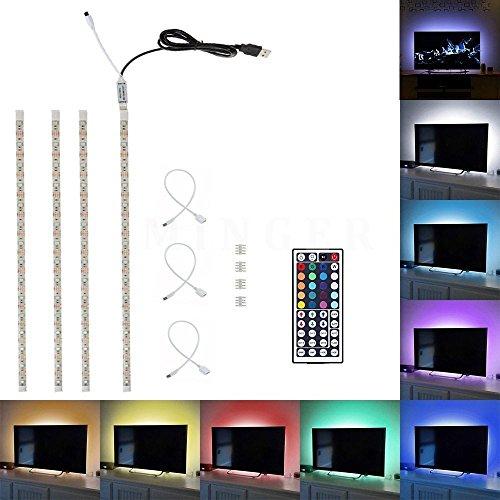 Minger 4X50cm LED USB Luce Di Striscia TV LED Sfondo Kit Di Illuminazione Con USB Cavo, illuminazione backlight entertainment, strisce LED autoadesive, IR Ricevitore, 44 Tasti telecomando