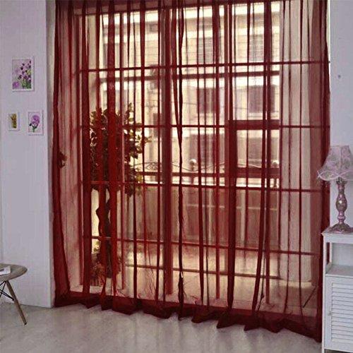 Hukz 1 Stück reine Farbe Tulle Tür Fenster Vorhang Drape Panel Sheer Schal Volants (D) -