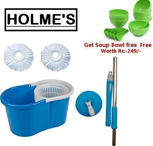 HOLME'S 360° Spin Floor Cleaning Easy Bucket PVC Mop with 2 Microfiber Heads Get Soup Bowl Free(Random Color)