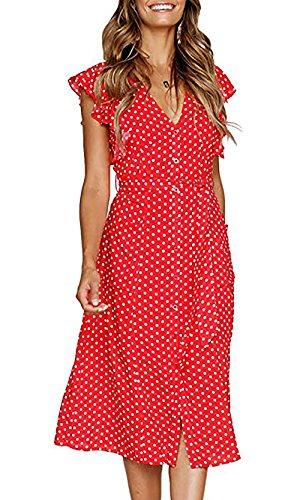 Udgwaz Damen Kleider ohne Gürtel Vintage Druckkleid V-Ausschnitt Maxikleid Freizeit Cocktailkleid...
