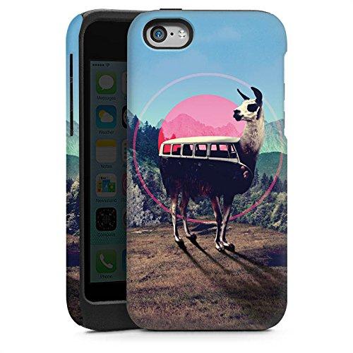 Apple iPhone 5 Housse Outdoor Étui militaire Coque Lama Hipster Bus Cas Tough brillant
