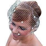Culater® elegant Frauen Dame Mädchen Luxus Kostümfest Braut Hochzeit Gesichtsschleier mit Kamm Haarnadel weiß
