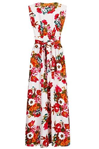 Leuchtend Damen 100% Baumwolle Blumen Ärmelloses Maxikleid Strandurlaub, Lila/Blau oder lila/Pink Weiß - Pink
