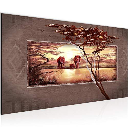 Bilder Afrika Elefant Wandbild Vlies - Leinwand Bild XXL Format Wandbilder Wohnzimmer Wohnung Deko Kunstdrucke Braun Grau 1 Teilig - MADE IN GERMANY - Fertig zum Aufhängen 001012b -