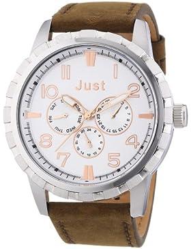Just Watches Herren-Armbanduhr XL Analog Quarz Leder 48-S4997-SL