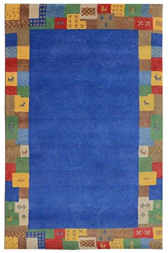 Morgenland Gabbeh Elite Teppich Berber Nomade Einfarbig Handgeknüpft Schurwolle, Größe:140 x 70 cm, Farbe:Blau - Berber-traditionelle Teppich