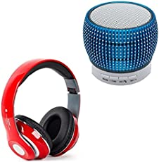 Raptas Bluetooth Portable Colourful Lights Stereo Subwoofer FM, Mega Bass Sound Headphone for All Smartphones (LED.Metal.spkr+Mega.bass, Multicolour)