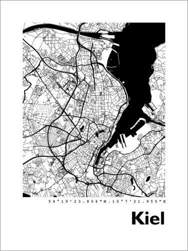 Posterlounge Leinwandbild 50 x 70 cm: Stadtplan von Kiel von 44spaces - fertiges Wandbild, Bild auf Keilrahmen, Fertigbild auf echter Leinwand, Leinwanddruck