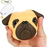 CosCosX 1 PCS Pug Dog Kawaii Jumbo Cream Scented Slow Rising Squishy Charms Squeeze Kid Toy for Stress Relief and Time Killing, Home Decoration
