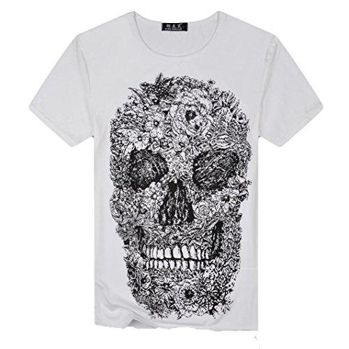 Styledresser-Maglietta-da-Uomo-T-Shirt-Top-Manica-Corta-Tee-Maglietta-da-Uomo-e-Donna-Moda-Cranio-Stampa-Maglietta-Uomini-Skull-Stampato-Estate-2018