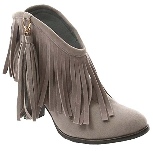 2016 Sapatos Borla Nubuck Botas Altas Das Mulheres Calcanhar Cinza