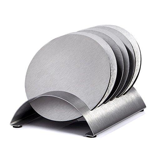 Generic 1Set 10cm Edelstahl runde Tasse Untersetzer Set mit Halter isoliert Pat hitzebeständig Schüssel Untersetzer mit Rack -