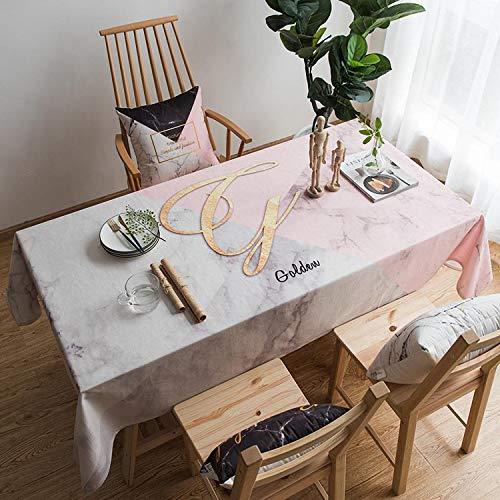 FeiFei156 Einfache Druck Rosa Quadratische Tischdecke Kleine Frische Literarische Tischtuch Rechteckige Wohnzimmer Tee Tisch Tuch Abdeckung Tuch 140 x 240cm (wasserdicht) Lady Pulver Marmor Tischdecke -