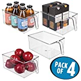 mDesign Plastic Kitchen Pantry Cabinet Refrigerator Storage Organizer Bin Holder with Handle - for Organizing Individual Packets, Snacks Food, Produce, Pasta - Food Safe - Pack of 4, Large, Clear