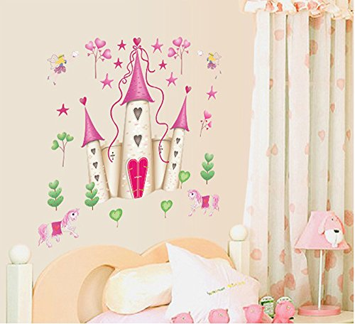 ufengke® Castillo de la Princesa de Dibujos Animados Pegatinas de Pared, Vivero Habitación de los Niños Removible Etiquetas de la pared / Murales