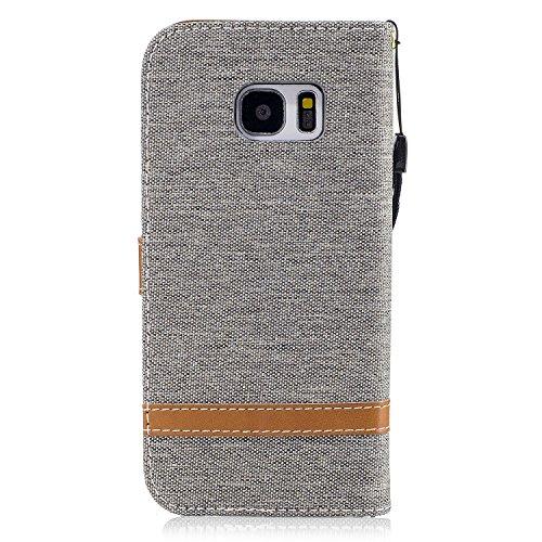 Custodia Galaxy S7 Edge, ISAKEN Flip Cover per Samsung Galaxy S7 Edge con Strap, Elegante Bookstyle Contrasto Collare PU Pelle Case Cover Protettiva Flip Portafoglio Custodia Protezione Caso con Suppo Marrone+grigio