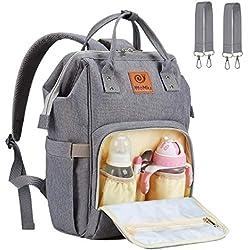 Pañal Bolso Mochila - WoNiu Multifuncional de Gran Capacidad, Impermeable Bolsa de Pañales Para Bebés y Mamá, Bolso de Viaje con Aislado Bolsillos, Moda y Duradero (Gris) ((A) Cremallera plateada)
