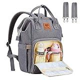 Baby Wickelrucksack Wickeltasche Rucksack - WoNiu Wasserdicht Oxford Multifunktions Große Kapazität Babytasche mit Kinderwagenhaken für Unterwegs Unisex (grau)