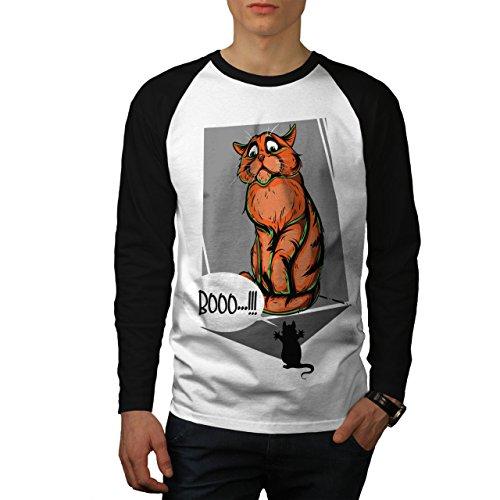 wellcoda Maus Scares Katze Männer L Baseball LS T-Shirt (Beängstigend Baseball)